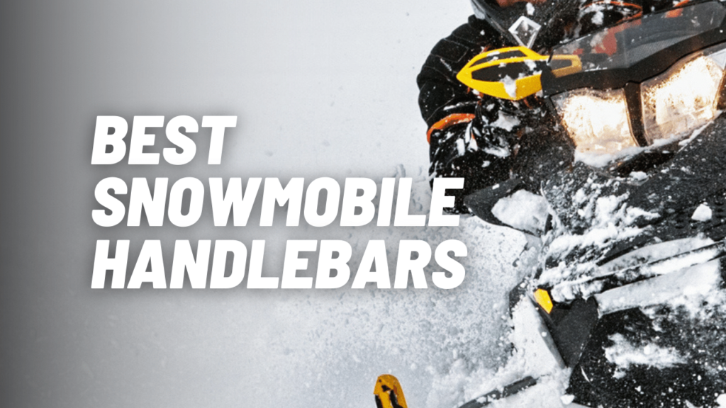 Snowmobile Handlebars being put to the test with a sharp turn on a snowmobile